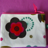 Folk Flowers oilcloth coin purse