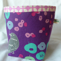 fabric pot - bird and flowers