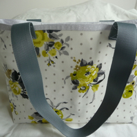 Lime sprig oilcloth shopper