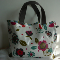 folk flowers oilcloth shopper