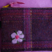 dark red tartan wool coin purse