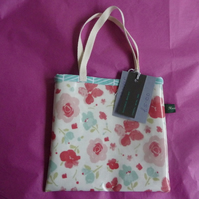 Pretty pink floral oilcloth mini tote SALE