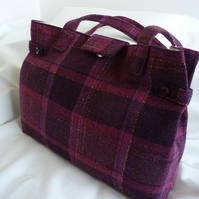 dark red tartan bag