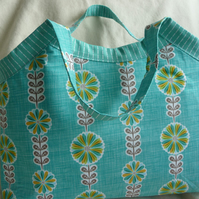 Turquoise floral project bag