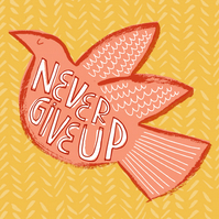Never Give Up - mid-century bird, positive inspirational scandi dove Square art