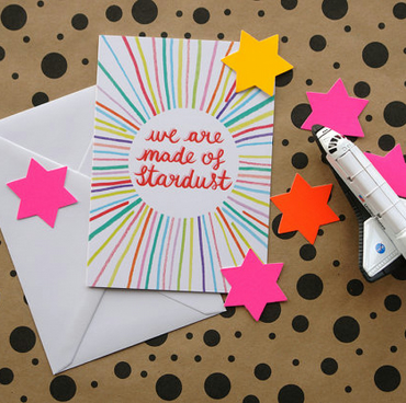 we are made of stardust- valentine anniversary birthday rainbow greetings card