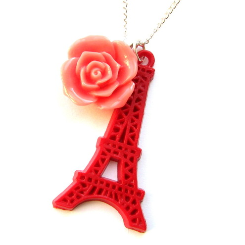 Spring In Paris Eiffel Tower Pendant Necklace