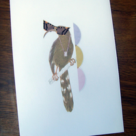 Classy Bird in Sunglasses Collage Print (A5 Colour)