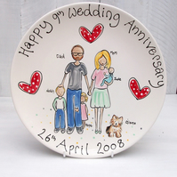 Family Portrait Plate for an 8th or 9th Wedding Anniversary