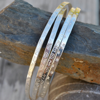 Sterling Silver Flat Patterned Bangle, Stacking Bangles