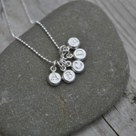 Tiny Sterling Silver Alphabet or Symbol Pebble Necklace - Eco friendly, Recycled