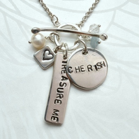 Desire- Personalised, Hand Stamped Silver and Gemstone Necklace