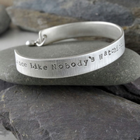 """Dance"" Cuff - Personalised, Hand Stamped, Sterling Silver Bangle - Free Post!"