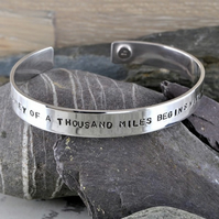 Mens Journey Cuff - Personalised, Hand Stamped, Sterling Silver Bangle. Freepost