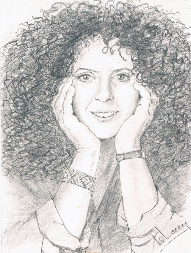 pencil portrait of Anita A4