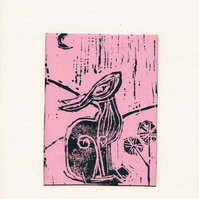 lino cut hare in pink