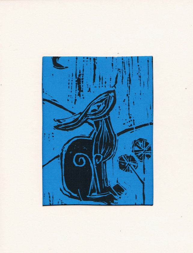 lino cut print hare in blue