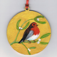 robin and mistletoe decoration