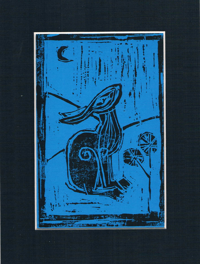 Black hare on blue lino cut print