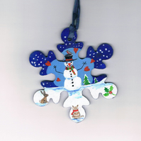 Snowman snowflake with kitten decoration