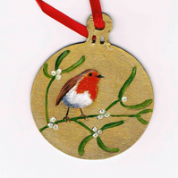 Mistletoe robin bauble