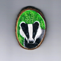 badger wood slice  magnet