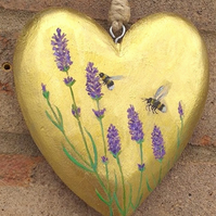 Lavender and bees on gold heart