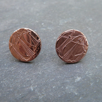 Recycled copper half-penny studs with sterling silver - Penny for your Thoughts