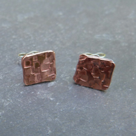 Hammered copper square studs with sterling silver fittings