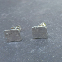 Hammered sterling silver studs - 8mm square with textured surface