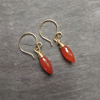 Carnelian and gold wrapped drops