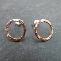 Hammered copper and sterling silver ring studs