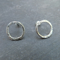 Hammered sterling silver ring studs
