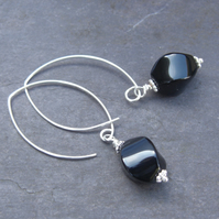 Curvy Twisty Black Onyx - long sterling silver earrings with faceted black onyx