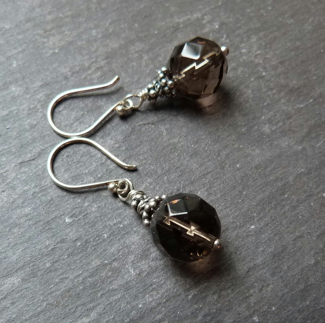 Bali Smoky Quartz - sterling silver earrings with faceted smoky quartz