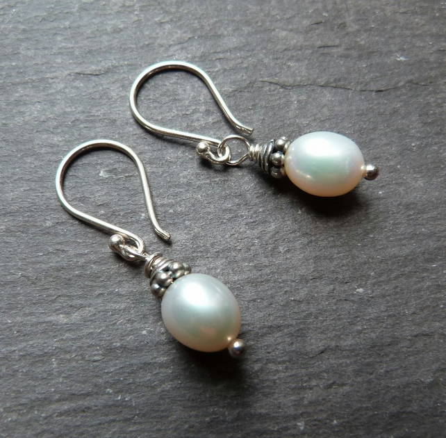 Cool Pearls - sterling silver earrings with creamy white freshwater pearls