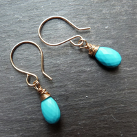 Turquoise and gold wrapped earrings
