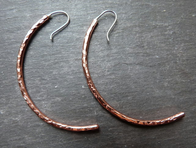 Curvy Copper - copper and sterling silver earrings
