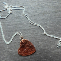Hammered copper heart on sterling silver chain