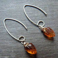 Warm orange citrine and sterling silver long earrings - november birthstone