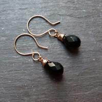 Black onyx and gold wrapped earrings