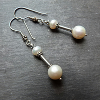 Bali Pearl - sterling silver earrings with freshwater pearls