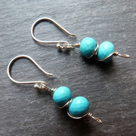 Turquoise and sterling silver wrapped earrings - neat and sweet