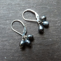 Tiny trio of pearls - sterling silver with freshwater peacock-grey pearls