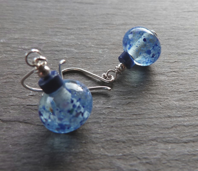 Blue Speckles - lampwork glass earrings with lapis lazuli and  sterling silver