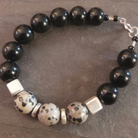 Black Spotty Dog - bracelet with dalmation jasper, black onyx & sterling silver