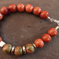 Two-tone Autumn  - bracelet with sponge coral, unakite & sterling silver