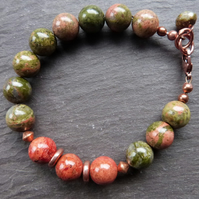Autumn Walk  - bracelet with unakite, sponge coral & copper