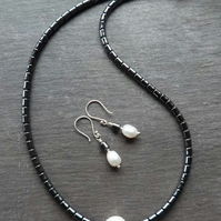 Hematite, freshwater pearl and sterling silver necklace and earring set