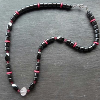 Grey & Pink - hematite, rose quartz,swarovski crystal & sterling silver necklace